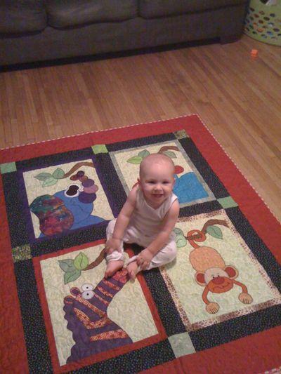 Luke on his quilt